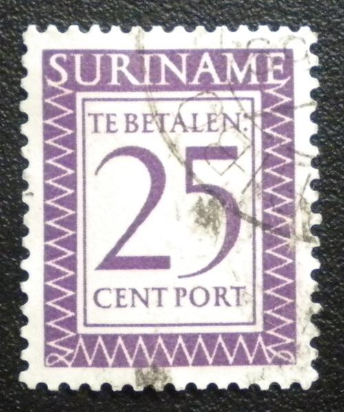 SURINAME 1956  PORT STAMP. SCOTT # J54. USED.