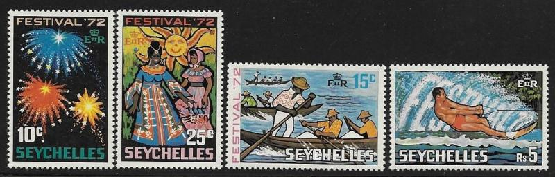 Seychelles 1972 Festival Fireworks Canoe race Water skiing local costumes MNH A5