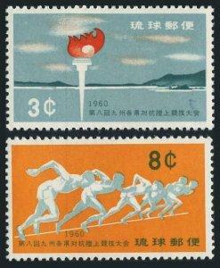 RyuKyu 72-73,lightly hinged. Athletic Meet.Torch,Nago Bay,1960.Runners.