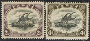 PAPUA 1907 LAKATOI SMALL PAPUA 2D AND 4D WMK UPRIGHT PERF 12.5
