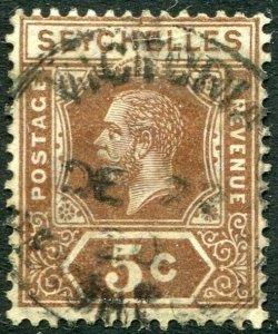 SEYCHELLES-1920 5c Deep Brown Sg 84 GOOD USED V48886
