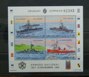 Uruguay 1994 177th Anniversary of Navy Ships Miniature Sheet MNH