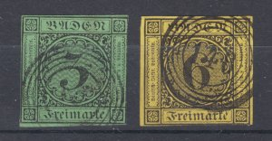 Baden Sc 7, 9 used 1853 3kr & 6kr imperf Numerals, nearly 4 margins, fresh, VF