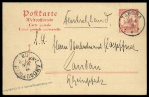 Germany 1908 East Africa KUTSCHUZI DOA TABORA Cover Stationery 87124