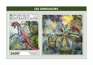 HERRICKSTAMP NEW ISSUES CENTRAL AFRICA Dinosaurs S/S
