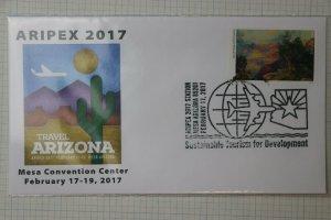ARIPEX show cachet cover 2017 Sustainable Travel Tourism Philatelic Souvenir AZ