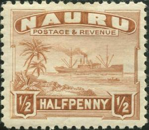 Nauru 1937 SG26B ½d chestnut Freighter shiny P11 MLH