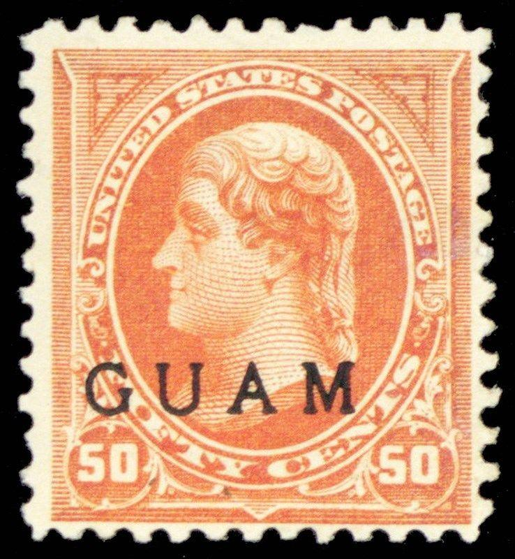 Guam #11, Mint F/VF OG H 50¢ Jefferson Stamp In Orange Cat $350.00 - Stuart Katz