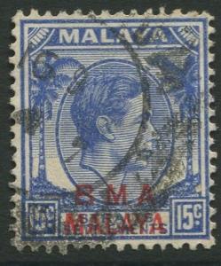 Straits Settlements - Scott 265 - KGVI Overprint - 1945 - FU - 15c Stamp