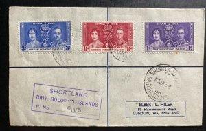 1938 Shorthand British Solomon Island Cover King George VI Coronation KG6