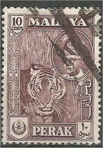 PERAK, 1957, used 10c, Tiger Scott 132