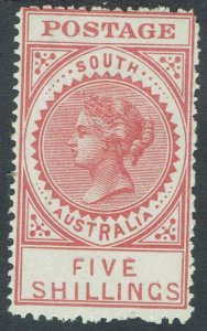 SOUTH AUSTRALIA 1906 QV THICK POSTAGE 5/- WMK CROWN/A