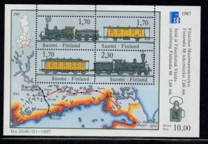 Finland Sc 755 1987 FINLANDIA 88 trains stamp sheet mint NH