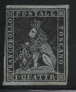 Italian States Tuscany Scott #1 VF Mint Stamp Watermark 185 CV $17,500