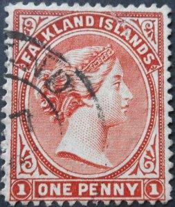 Falkland Islands 1895 QV 1d reversed wmk SG 22ax used