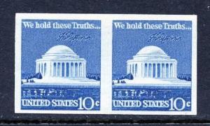 U.S. Scott 1520b 10 Cent Jefferson Memorial Imperforate Error Coil Pair