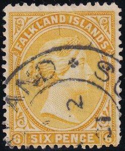 Falkland Island 1891-1902 SC 16a Used Orange