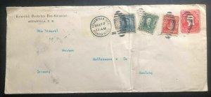 1906 Aguadilla Puerto Rico German Consulate Stationery Cover to Hamburg Germany