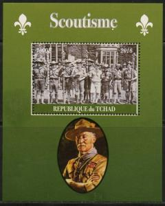 CHAD 2016  BOY SCOUTS BADEN POWELL IMPERFORATE  SOUVENIR SHEET II  MINT NH