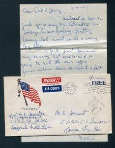 1943 WWII Patriotic - Free Frank - Sheppard Field, Texas (DPO 1941-1946) Letter