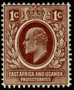 EAST AFRICA and UGANDA SG34, 1c brown, M MINT.