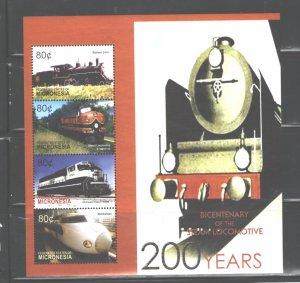 MICRONESIA 2004  TRAINS MS.#595  MNH