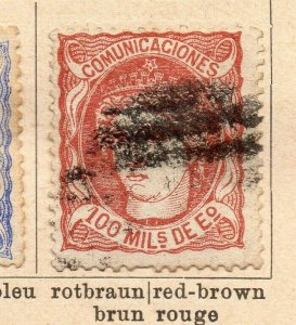 Spain 1870 Early Issue Fine Used 100m. NW-16566