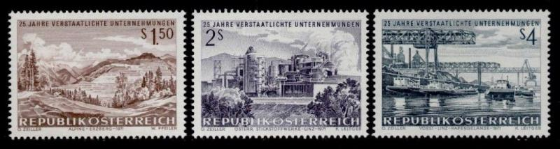 Austria 908-10 MNH Iron Mountain, Chemical Plant, Steel Mill, Barges
