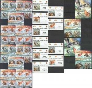 BU55 IMPERF,PERF 2012 BURUNDI FAUNA BIRDS OWLS LES HIBOUX !!! 12BL+12KB MNH