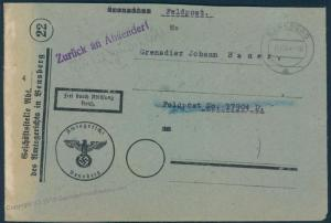 3rd Reich Germany Nov 1944 Feldpost Court Delivered 1946 Cover 55811
