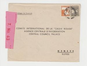 PALESTINE -RED X SUISSE 1939 CENSOR COVER,SCARCE TAPE T.No.43,15p RATE(SEE BELOW