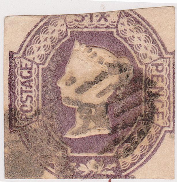 Great Britain - 1854 6d Embossed Used #7 Scott 2015 Cat. $1000.00