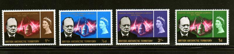BRITISH ANTARCTIC TERRITORY #16-19  1966  WINSTON CHURCHILL  MINT  VF LH  O.G