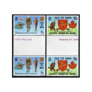 Isle of Man 139-140 gutter,MNH.Michel 131-132. Commonwealth Games,1978.Bicycling