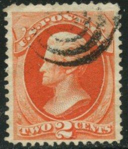 US Sc#178 1875 2c Vermilion CBN Wove Paper F-VF Centered Sound Used