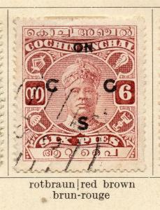 Cochin 1918-22 Early Issue Fine Used 6p. Optd 322449