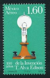 Mexico C621 block/4,MNH.Michel 1650. Invention of electric light,100,1979.