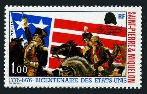 St Pierre & Miquelon 447,MNH.Mi 517. US-200, 1976. Washington, Lafayette, Flag.