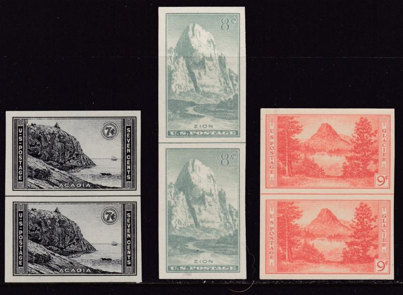 United States 1935 3 Imperf Pairs from the National Parks Series. VF/NGAI