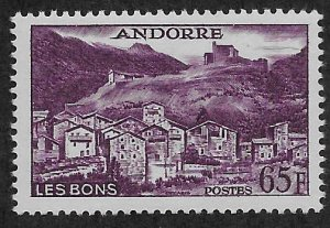 ANDORRA - FRENCH SC# 140  FVF/MOG 1958