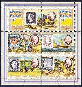 Niue 245c MNH 1979 Sir Rowland Hill Stamp on Stamp Souvenir Sheet of 10 VF