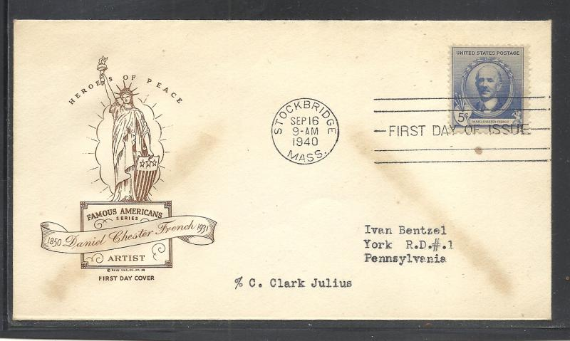 US #887 14 French Ross Engraving cachet addressed fdc