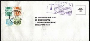 SINGAPORE 1990 taxed cover with postage dues. PASAR PANJANG cds...........95508