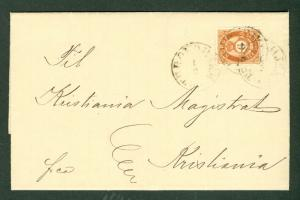 NORWAY 1877, 6sk (Scott 20) tied on folded letter to Kristiania