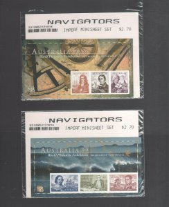 Australian Stamps Mint 1999 Navigators Imperf PO Pack with 2 Minisheets