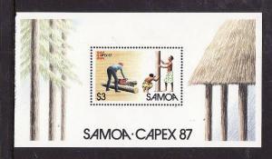 Samoa-Sc#696-Unused NH sheet-CAPEX '87-Stamp Exhibition-1987-
