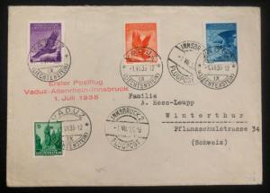 1935 Vaduz Lichtenstein First Flight cover FFC to Switzerland Sc#C9-10&12