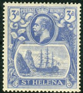 ST HELENA-1923 3d bright Blue BROKEN MAINMAST.  A lightly mounted mint Sg 101a