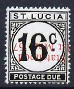 St Lucia 1967 Postage Due 16c 'Statehood' opt in red (inv...