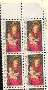 US #1336 5c Christmas Plate Block of 4 (MNH) CV $1.00
